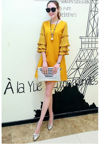 2016 HOT design women's fashion slim dresses girls casual spring autumn style yellow ruffles sleeve dress  3XL 2XL #H594