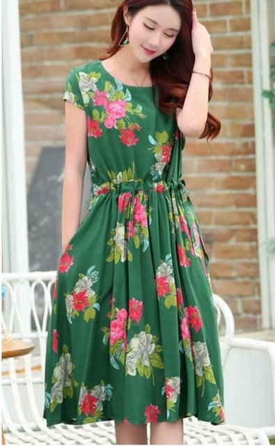 691d3c242b7 Middle-aged Women s Summer dress O-neck Print Short sleeve Long Dress  Fashion Plus