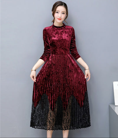 2018 New design girls casual velet long dresses women fashion autumn sleeve wine red blue dress office lady plus size 3XL #A116