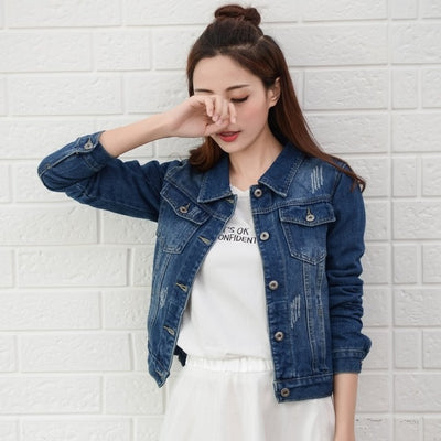 2018 Korean Female New Autumn Casual Bodycon Plus Size Long Sleeved Jean Coat White Black Women Denim Jacket Femme Tops A382