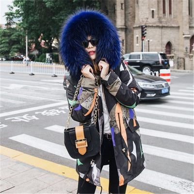 New Fashion Fox Raccoon Fur Liner Overcome Female Medium Long Parker Fur Coat  Large Raccoon Fur Hooded Outwear Winter Jacket283
