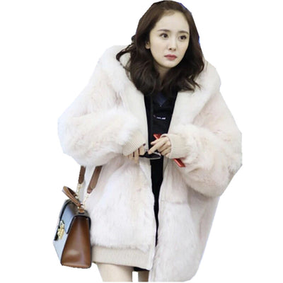 Stylish Pink Loose Hooded Faux Fox Fur Jackets New Winter Woman Long sleeve Keep Warm Faux Fur Thick Coat Outerwear pink