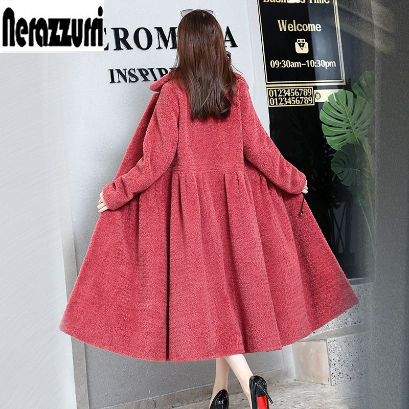 Nerazzurri Real fur coat women 2018 winter pleated furry long skirt sheared sheep fur overcoat plus size outwear 5xl 6xl 7xl