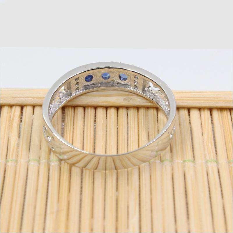 Promotion Stylish Ring For Man Natural 3Mm Round Cut Sapphire