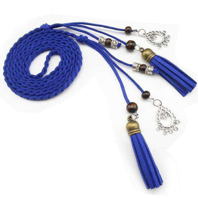 Pu Leather Braid Waist Belt Royal Blue / 170Cm Belts