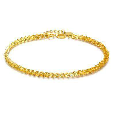 Pure Gold Women Bracelet Yellow Rose Girl Genuine