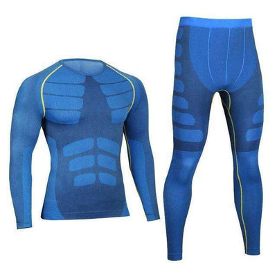 Quick Dry Gymming Male Shirts + Tights Pants Blue / M Long Johns