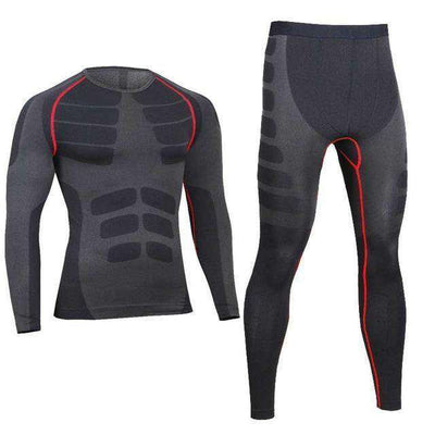 Quick Dry Gymming Male Shirts + Tights Pants Red / M Long Johns