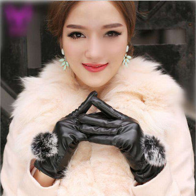 Rabbit Fur Ball Pu Leather Gloves Black / Free Size Gloves