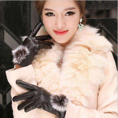 Rabbit Fur Ball Pu Leather Gloves Brown / Free Size Gloves