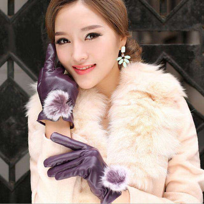 Rabbit Fur Ball Pu Leather Gloves Purple / Free Size Gloves