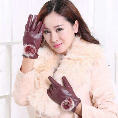 Rabbit Fur Ball Pu Leather Gloves Wine / Free Size Gloves