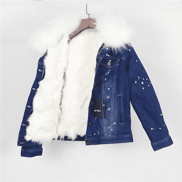 Real Large Raccoon Fur Collar Basic Jacket Basic Jackets