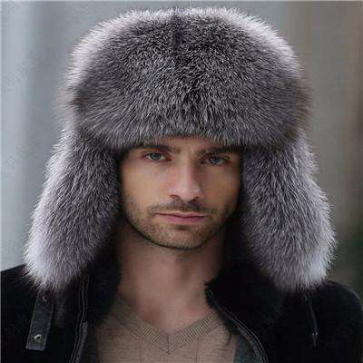 Real Raccoon Fur Lei Feng Cap Dark Grey / China Hats