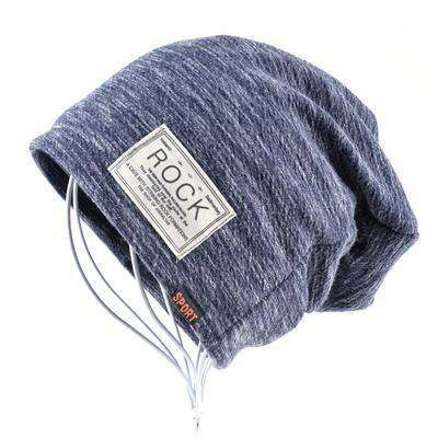 Rock Logo Casual Cap Blue Beanies