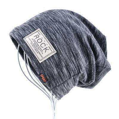 Rock Logo Casual Cap Gray Beanies