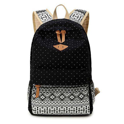 School Bag Large Capacity Canvas Dot Printing Black