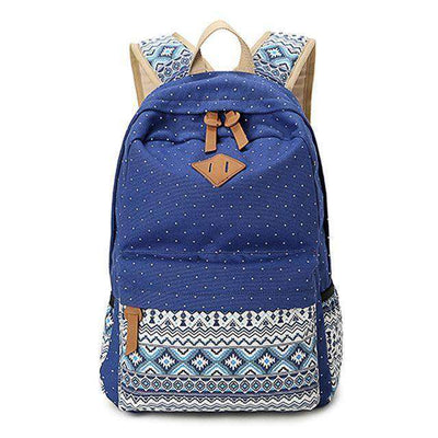 School Bag Large Capacity Canvas Dot Printing Blue
