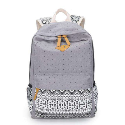 School Bag Large Capacity Canvas Dot Printing Gray