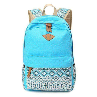 School Bag Large Capacity Canvas Dot Printing Sky Blue