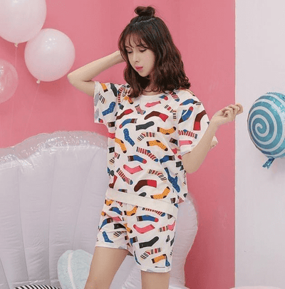 Short Pants + Short Sleeve Tops Pajamas 7702 / M Sleep & Lounge