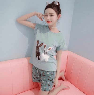 Short Pants + Short Sleeve Tops Pajamas 7711 / M Sleep & Lounge