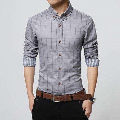 Slim Fit Men Long Sleeve Shirt Gray / Asian Size M Shirts