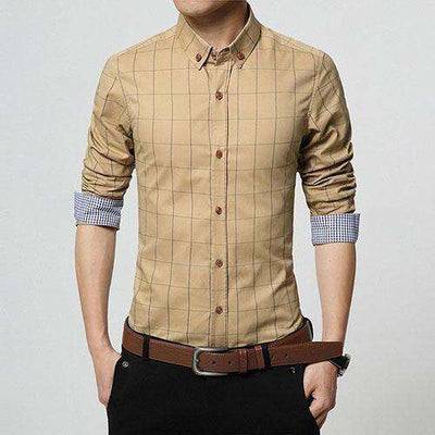 Slim Fit Men Long Sleeve Shirt Khaki / Asian Size M Shirts