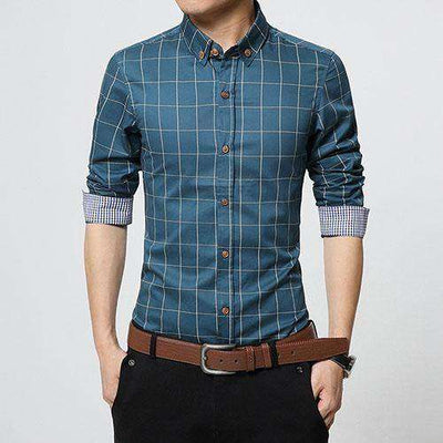 Slim Fit Men Long Sleeve Shirt Lake Blue / Asian Size M Shirts