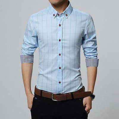 Slim Fit Men Long Sleeve Shirt Light Blue / Asian Size M Shirts