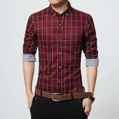 Slim Fit Men Long Sleeve Shirt Red / Asian Size M Shirts