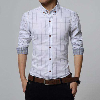 Slim Fit Men Long Sleeve Shirt White / Asian Size M Shirts