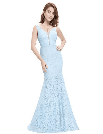 Small Train Sexy Trumpet V-Neck Elegant Prom Dress Blue / 4 Prom Dresses