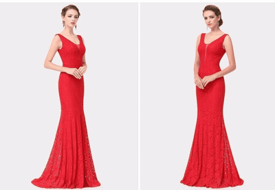 Small Train Sexy Trumpet V-Neck Elegant Prom Dress Prom Dresses