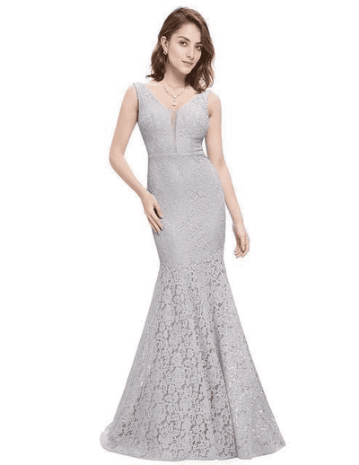 Small Train Sexy Trumpet V-Neck Elegant Prom Dress Gray / 4 Prom Dresses