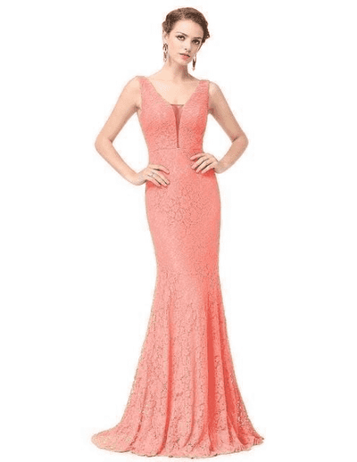 Small Train Sexy Trumpet V-Neck Elegant Prom Dress Peach / 4 Prom Dresses