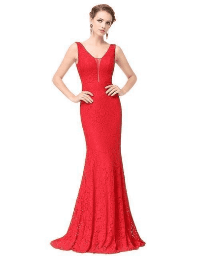 Small Train Sexy Trumpet V-Neck Elegant Prom Dress Vermilion / 4 Prom Dresses