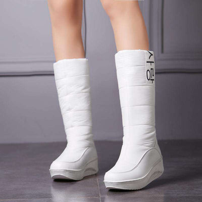 Snow Boots Wedges Heels Slip On Women Winter Boots