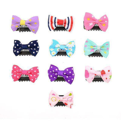 Solid Dot Pringting Mini Small Bow Hair Clips Mix Print 02