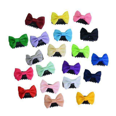 Solid Dot Pringting Mini Small Bow Hair Clips Solid