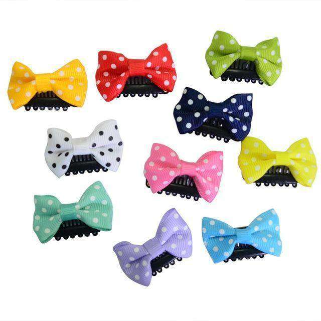 Solid Dot Pringting Mini Small Bow Hair Clips