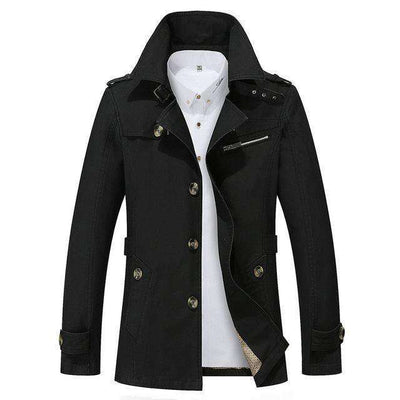 Solid Slim Fit Cotton Casual Jacket Black / M M.trench