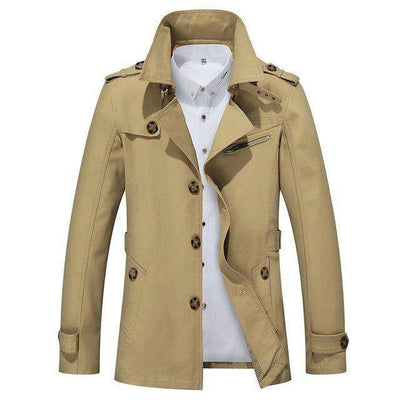 Solid Slim Fit Cotton Casual Jacket Dark Khaki / M M.trench