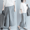 Striped Elastic Wide Leg Pants Gray / M Wide Leg Pants
