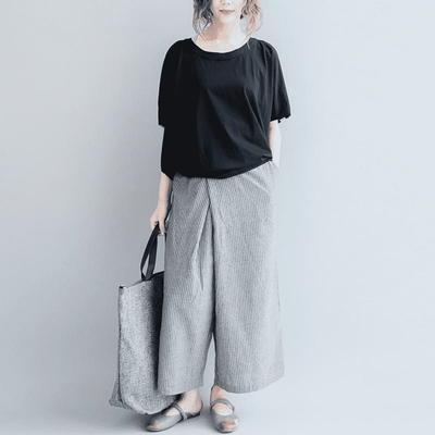 Striped Elastic Wide Leg Pants Wide Leg Pants