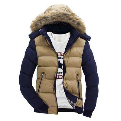 Thick Hooded Fur Collar Parka Men Coats Khaki Blue / M M.parkas