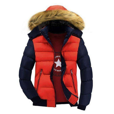 Thick Hooded Fur Collar Parka Men Coats Orange Blue / M M.parkas