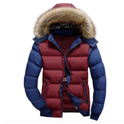 Thick Hooded Fur Collar Parka Men Coats Red Blue / M M.parkas