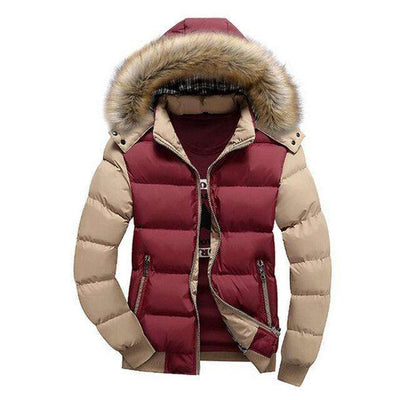 Thick Hooded Fur Collar Parka Men Coats Red Khaki / M M.parkas