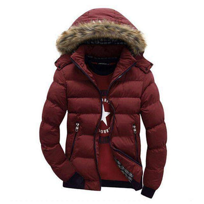 Thick Hooded Fur Collar Parka Men Coats Solid Red / M M.parkas